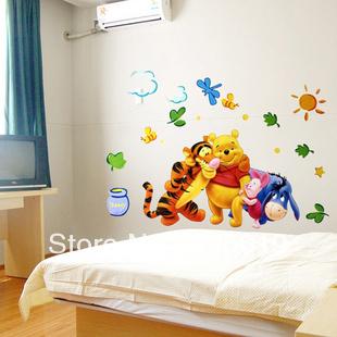 Good 50x70cm TC2021 Winnie The Pooh Wall Stickers Large Cartoon Home Decor Paper  Nursery Wallart USA Direct Shipping Free Drop Ship Part 22
