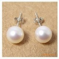 11-12mm Nautral Fresh Water Pearl Stud Earrings, 925 Sterling Sliver,White, Pink, Black color,Wholesale+Free Shipping,