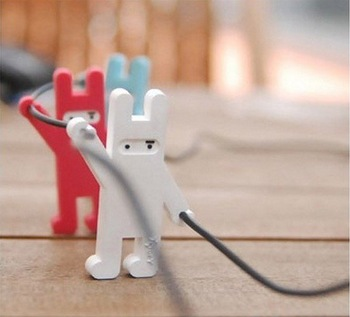 Free Shipping Cute Mini Ninja Rabbit Earphone Cable Winder / Smart Wrap Cable Cord Holder Wire Organizer / Coiling Line Device