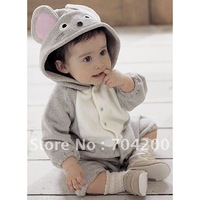 Animal-shaped Gray Mouse Baby Rompers/Character child kid Costume
