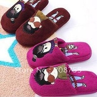 Creative household da lovers of purple cotton slippers/household slippers/fluffy slippers
