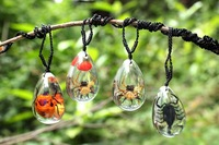 Transparent Bug Amber Jewellery Pendants Necklaces Romantic Lover Gift 50pairs Mixed Lot Free Shipping