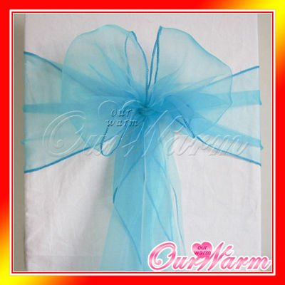 New Aqua Blue Turquoise 7x108 Organza Chair Sash Bow Wedding Party