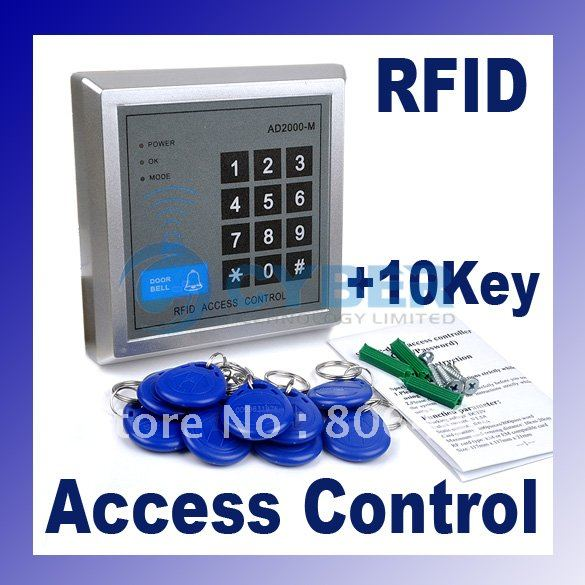 RFID Proximity Entry Lock Door Access Control System AD2000-M with 10 Keyfobs + Free Shipping(China (Mainland))