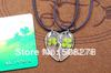 transparent love necklace with lucky clover for gift heart love necklace competitive price1 pair free shipping