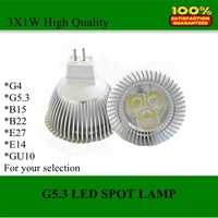 Wholesale, (DHL)High Quality 3W wafer LED spot G5.3 warm/cool led bulb lamp lighting Free Shipping