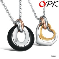 OPK JEWELRY lover's Christmas gift couple pendant  love heart necklace Rhinestone Titanium Steel fashion Korean Jewelry, 606