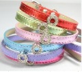 1cm width DIY dog collars shinny pu effects, nice dog belts, DIY pet collars could get through 10MM charms, 5colours available