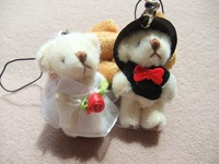 Free shipping, 100pair/lot, 4.5cm teddy wedding bear in pairs, good as wedding gifts, Could use for cellphone, bag, key chain.