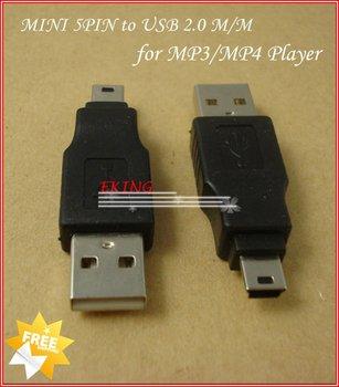 Mini USB Adapter Wholesale Freeshipping MINI 5Pin To USB 2.0 Adapter For MP3 MP4 Mini USB adapter