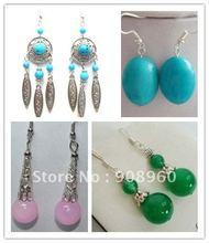 Wholesale fashion jewelry Fancy Jewellery Jade Tibet Handmade Earring 20pc/lot #05(China (Mainland))