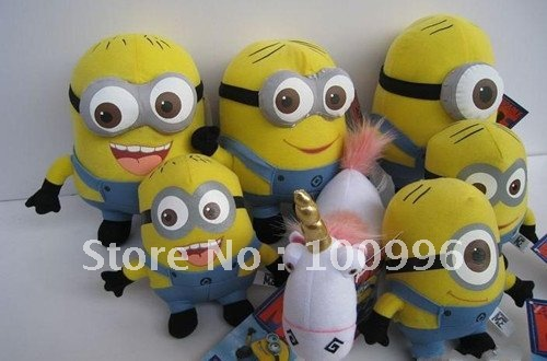 Free Shipping 65pcs/lot Despicable Me store Minions Despicab me Stuffed ,Film Animal Plush Toy With Tags Wholesale mix order(China (Mainland))