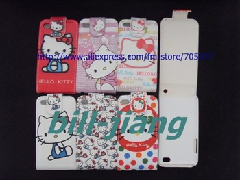 NEW hello Kitty Flip leather case for IPOD Touch 4 leather pouch  by china post  free shipping