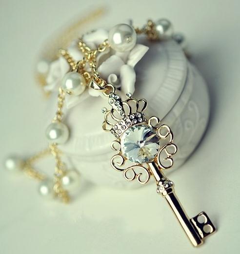 Club: Tu Historia Winx (3) N007-Cheap-jewelry-Key-Simulated-pearl-Elegant-Noble-Pretty-Pendant-Necklace-wholesale-B2-3