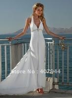 Hot sell sxey white chiffon deep V-neck floor length backless beautifull halter beach wedding dress