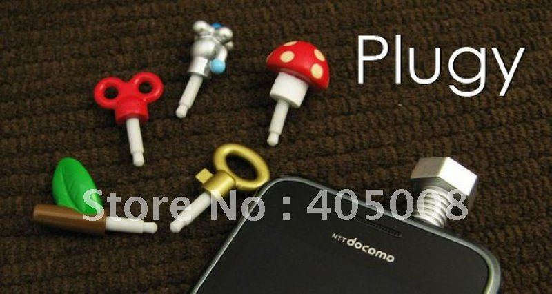 100pcs/lot /Dustproof plug ear Cap/cute cartoon,stem,spring,bolt,faucet,mushroom,key for iphone/mp3/mp4 if package free shipping(China (Mainland))
