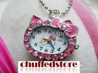 Hello Kitty Necklace clock 5 Color Pendant pocket watch Xmas gift CFW102 mixed order 40pcs/lot