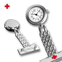 Delicate Style Red Cross Silver Tone Pocket Nurse Watch Pocket Watches Xmas Gift 100pcs/lot