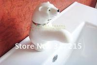 Polar bear sitting style Double hole ceramic faucet mixer tap bathroom basin faucet 1piece wholesale & retail Shipping discount