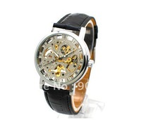 men's AUTOMATIC WATCH men's mechanical watch skeleton and automatic wrist watch leathern watchband moq is 1
