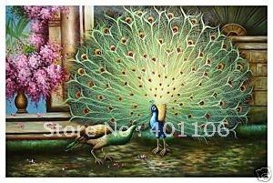 Pintura a óleo Handmade livre da arte do transporte 100%, pavão