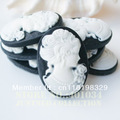 Free shipping 18*25mm white VS black resin cameo of fair lady, mixed order available ,100pcs/lot