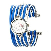 Fashion and Special Hello Kitty Bracelet Design Wrist Watch (Blue) for gift