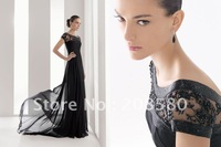 High Neck Short Sleeve Black Beaded Chiffon Mother Evening Dresses Prom Gowns M278