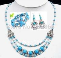 Wholesale new arrive Tibetan silver Turquoise necklace bracelet earring set gift