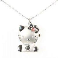 Silvery Cute Hello Kitty Necklace Pocket Watch 80pcs/lot