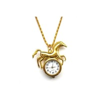 Silver golden Horse Necklace Children Watch Clock Pendant (40pcs/lot)