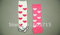 wholesale free shipping 20pairs baby socks lace leg warmers knee pad children legging Kids toddler Heart-shaped socks stocking