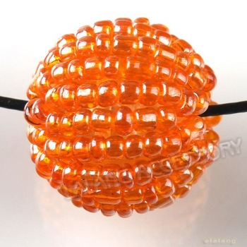 60pcs/lot Nice Acrylic Orange Round Seed Beads Coverd Straight Hole Bead Fit Jewelry DIY 111581