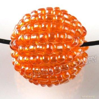 60pcs/lot Nice Acrylic Orange Round Seed Beads Coverd Straight Hole Bead Fit Jewelry DIY 111581