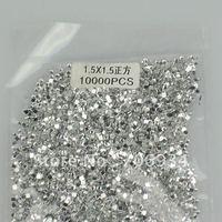 1bag/lot(10000pcs/bag) 12 Color optional 1.5*1.5mm Clear square Crystal Nail Art Tip Rhinestone