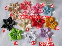 Wholesale -- 780 X 3.5cm Swiss Dots Satin Flower Bow with Rhinestone(S-244A) - mix 13 different colors--- Free Shipping BY EMS