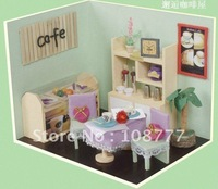 Wholesale Free Shipping, assembled wooden Creative handmade DIY huts wooden assembling model series -Encounter,Coffee shop