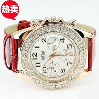 Hot fashion jewelry wholesale diamond-studded watch three six-pin female form large dial red strap quartz watch ladies watches
