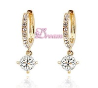 Zircon Drop Crystal circle Free shipping hotselling wholesales shinning Earrings fashion crystal earrings jewelry 2 colors 2396