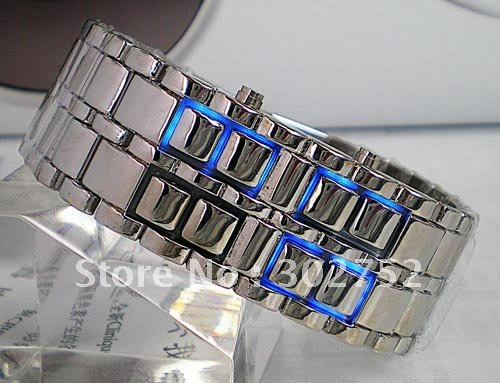 Drop shipping Men style Blue LED digital watch Metal Lava Style Iron Samurai Watch QY081(China (Mainland))