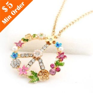 Min.order is $15 (mix order)Rhinestone Pearl Flower Peace Sweater Chain Anti-War Peace Symbol Necklace N288(China (Mainland))