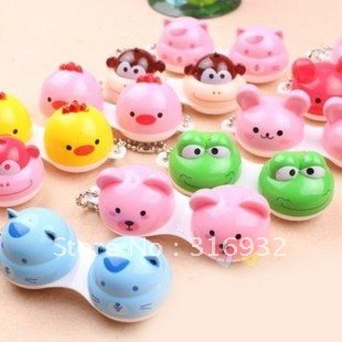10pcs/lot Animal Contact Lens Case animal Lenses Box/Color Cute Contact lens case/Cartoon Glasses box wholesale