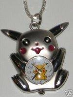 Silver 3D* POKEMON PIKACHU * Pocket Watch necklace Xmas Gift 100pcs/lot
