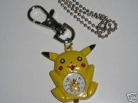 YELLOW POKEMON PIKACHU Pocket Watch Keyring Xmas Gift 100pcs/lot