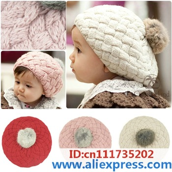 2014 New Autumn winter baby hat bonnet style kid crochet cap lovely infant's headwear Free shipping Hot Sale