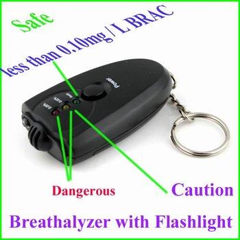 new arrival mini Alcohol Breath Tester Breathalyzer with Flashlight LED indicators key ring drop shipping