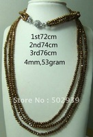 wholesale free shipping gold color 3rows 4mm rondelle glass beaded necklace 36pcs/lot