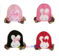 christmas gift baby hat,girls' hat with Large rabbit wig cap 40g