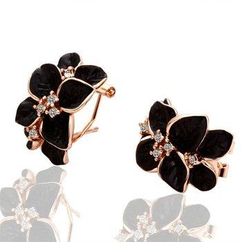 18KGP E018 Gold Black Rose Freeshipping,18K gold plated earrings, Fashion jewelry, nickel free, plating White Gold, Rhinestone