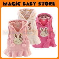 wholesale  rabbit vest dress/fall dress/ skirt/sleeveless/polar fleece dress/baby clothing/ 2 sets/baby vest dress and hat
